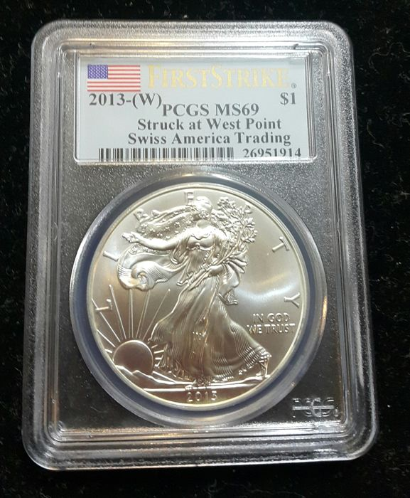 United States - Dollar 2013-W 'Eagle' in PCGS Slab - 1 oz silver