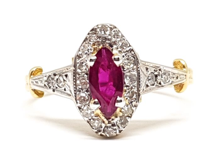 Diamond & Ruby Ring 0.81 ct - Ring Size: 51 / 16.25 mm