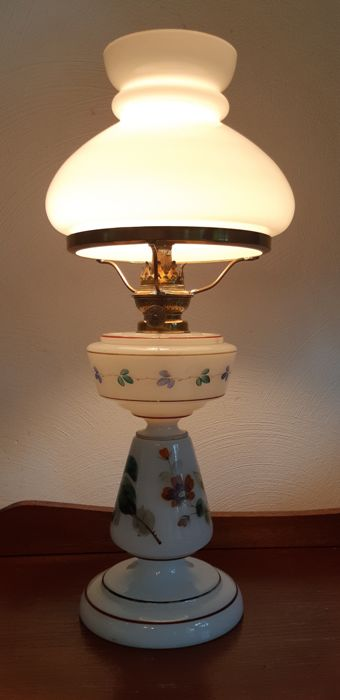 Opaline glass oil lamp, France, 20th century, good condition
