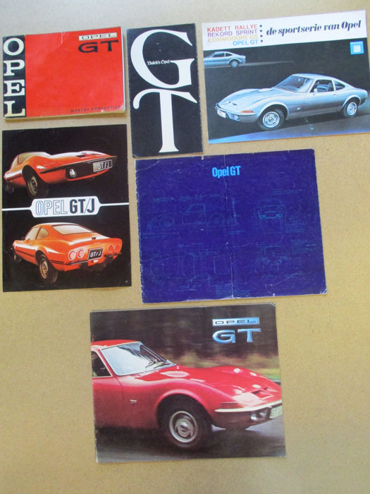 OPEL GT and GT/J - lot of 6 brochures