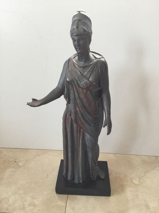 Statue - Classic Greek standing female figure - 1930s - metal and plaster - approx. 50 cm tall