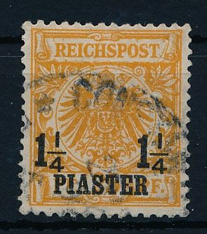 "German mail Turkey - 1889 - ""crown/eagle"" 1  1/4 Piaster in  ""a colour"" - Michel 9a verified via Zenker BPP"