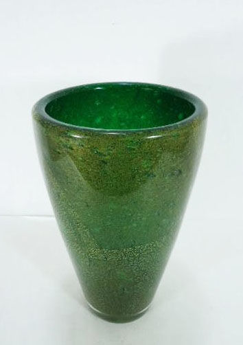 Carlo Scarpa for Venini - Green glass and gold vase from the Sommersi series