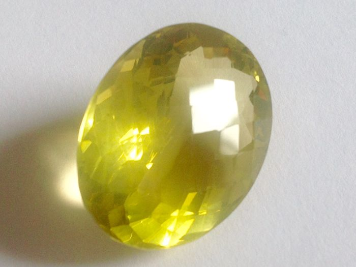 Intense Lemon Greenish Yellow Quartz Citrine - 53.28 ct