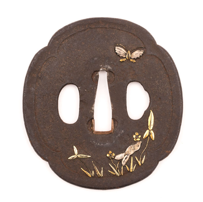 Iron Mokko Shaped Tsuba - Silver, Gold and Brass Inlay - Butterfly and Flowers - 18th/19th century - Japan