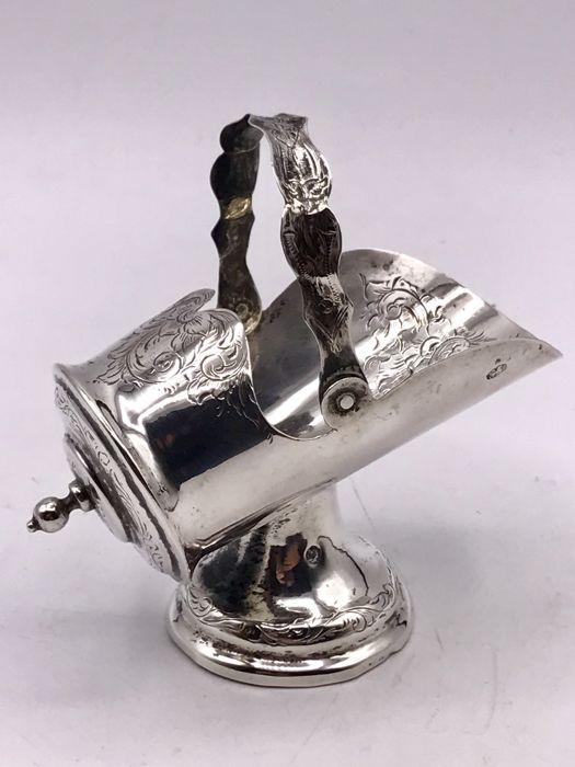 19th century hand made Dutch silver sugar bowl / sugar tongs in the shape of a scuttle, The Netherlands, 1857