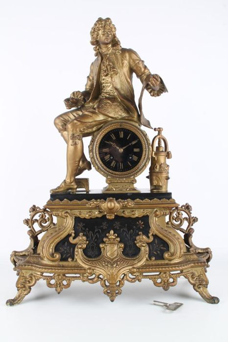 France 19th century, huge figurine, fireplace clock, 55 cm, pendulum, marble, Zamak