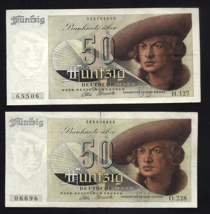 Germany - Bank Deutscher Länder - 2 x 50 German marks - 1948