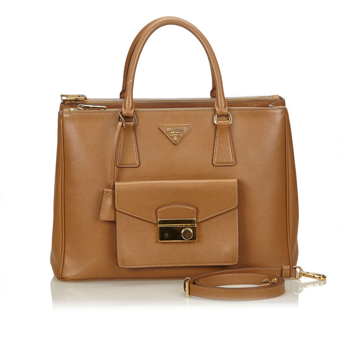 Prada - Leather Front Pocket Double Zip Handbag