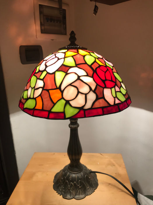 Lamp in Tiffany-stijl - Brons, Glas (glas-in-lood)