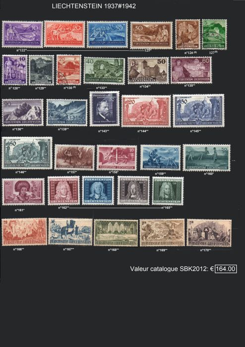 Liechtenstein 1937/1947 - Lot of post stamps and service.