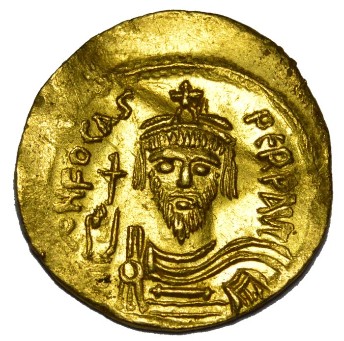 Byzantine Empire - Phocas (AD 602-610). AV solidus Mint : Constantinople, 5th officina.