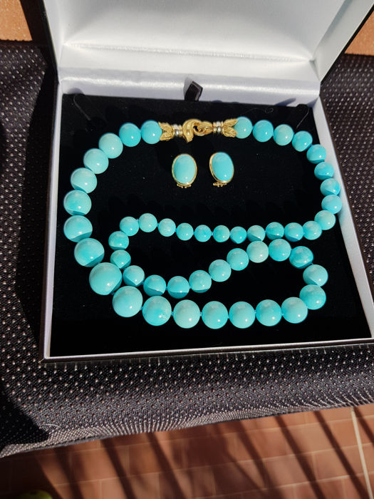 18 kt gold necklace and earrings with Iranian turquoise, vintage (1960s)