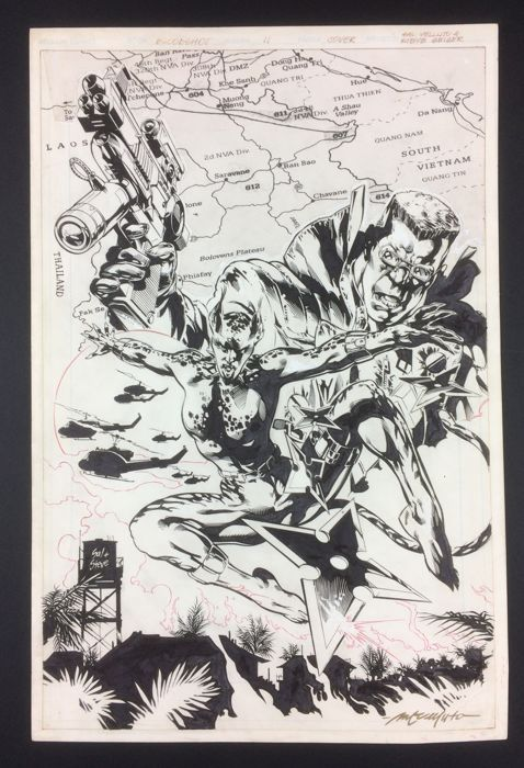 Velluto, Sal and Steve Geiger - Original drawing for a cover - Blood Shot - signed