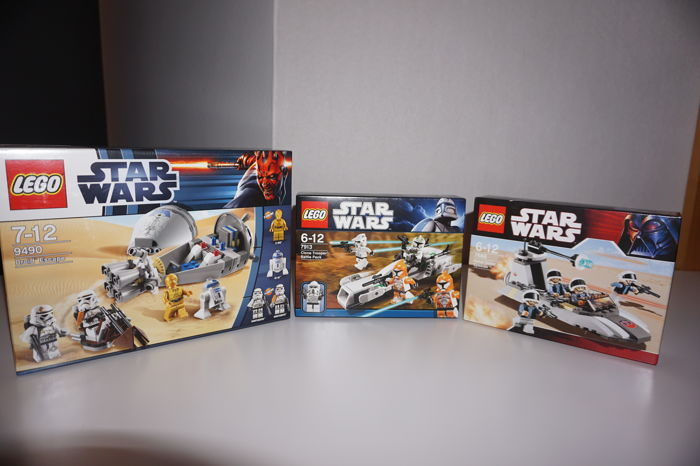 Star Wars - 7668 + 7913 + 9490 - Rebel Scout Speeder + Clone Trooper Battle Pack + Droid Escape
