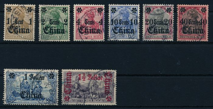 German mail in China - 1905 - postal stamps of the German Reich without watermark with overprint China , ex. Michel 28 -36