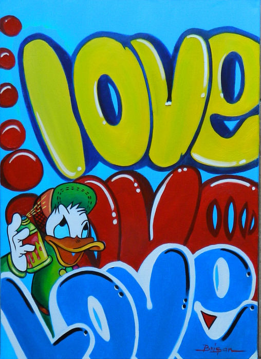 Brisan, Gabriel - Oil Painting on Canvas - Donald Duck - Love (2018)