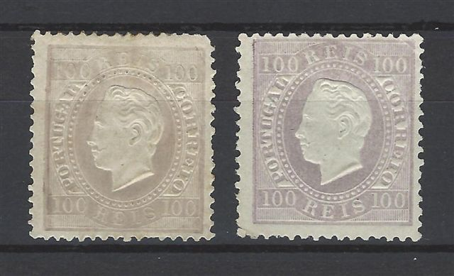 Portugal - Luis I. 100 Reis. Paper and perforated varieties - Michel 48xC, 48yB