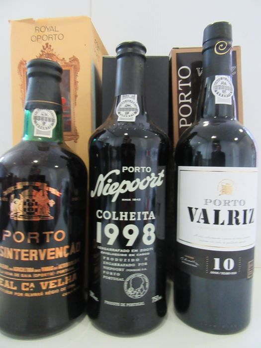 "1998 Colheita Port - Niepoort - bottled in 2007 & 10 Years Old Tawny Port - Valriz & NV Tawny Port - Real Companhia Velha ""Desintervenção"" - 3 bottles in total"