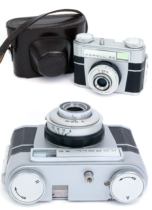 Bencini Koroll 35 fotocamera made in Italy italian camera with leather case.