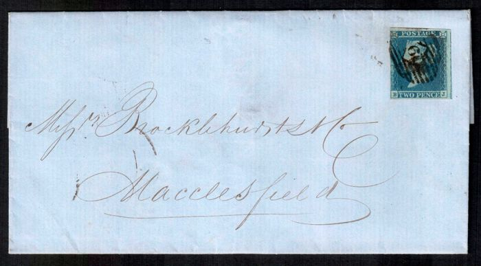 Great Britain Queen Victoria 1852 - 2d blue SG14, pl 4 on letter.