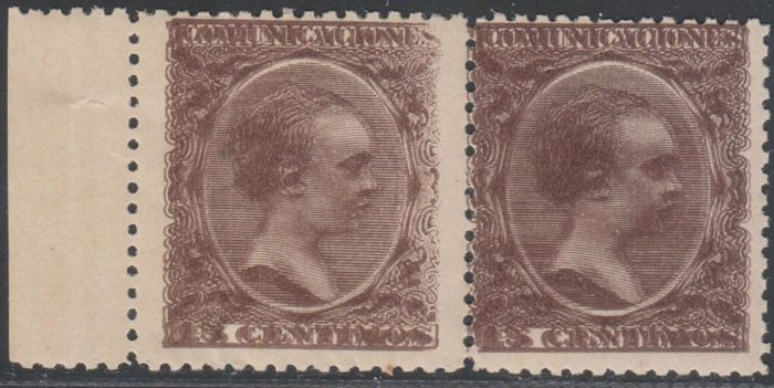 Spain 1889/1901 - Alfonso XIII Pelón. 2 cts black. Pair. Dual impression - Edifil 219(2)cd