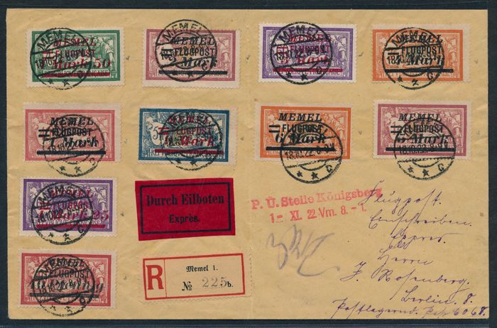 "Memel Region - 1922 - Airmail letter with complete set  ""Flugpostmarken mit Aufdruck"", Michel 98-107"