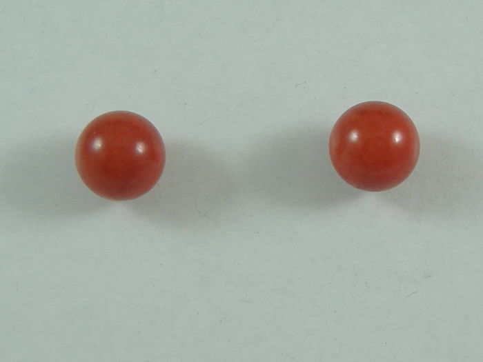 Earrings in red coral and 18 kt gold, made in Torre del Greco (Italy) - NO RESERVE PRICE
