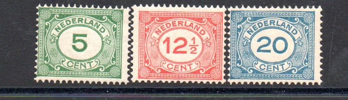 The Netherlands 1921/1922 - Number, type Vürtheim - NVPH 107/109