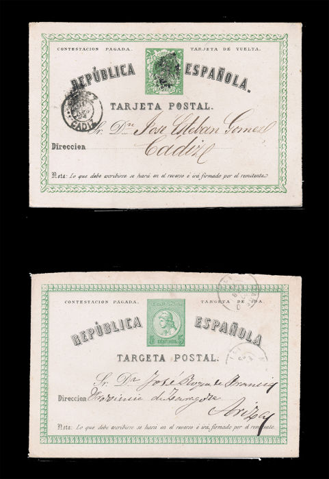 Spain 1870/1940 - Collection of circulated postal stationery, 32 pieces, various destinations, complementary franking, one dual, etc