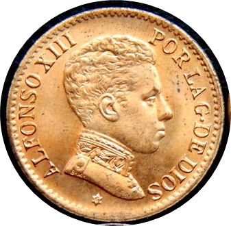 Spain - Alfonso XIII, 1906*06, 1 Centimo of Peseta SLV, visible star, struck in Madrid, original shine - uncirculated - scarce
