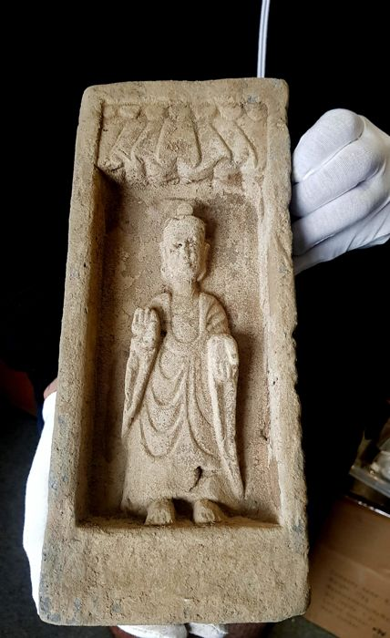 Northern Wei Dynasty Brick Depicting a Standing Buddha  - 330 x 165 mm