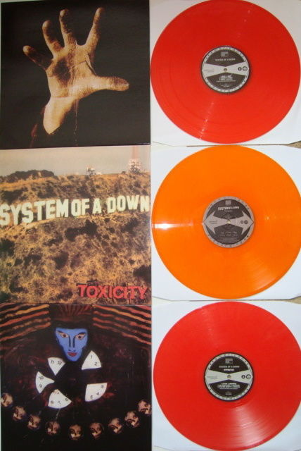 "System Of A Down: Lot of 3 LP's on coloured vinyl: ""System Of A Down"" + ""Toxicity"" + ""Hypnotize"""