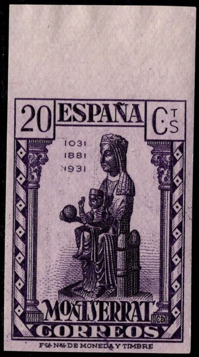 Spain 1931 - Montserrat. 20 cts purple, imperforated - Edifil 641s