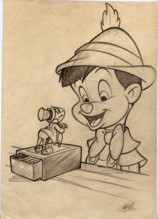 Xavier Vives Mateu - Original pencil sketch - Inspired on Pinocchio  and Jiminy Cricket