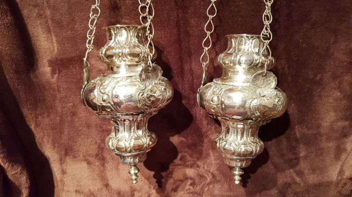 Pair of thuribles, silver plated copper, Naples, 1700s