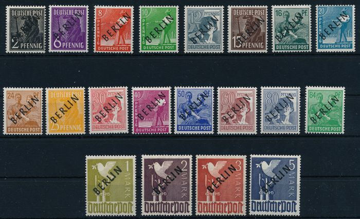 "Berlin 1948 - ""so-called black overprint"" 2 Pf to 5 Mark"", Michel 1 - 20 inspected by Schlegel BPP"