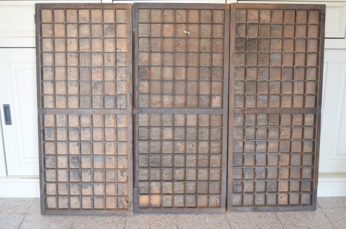 Three antique oak wooden letter boxes