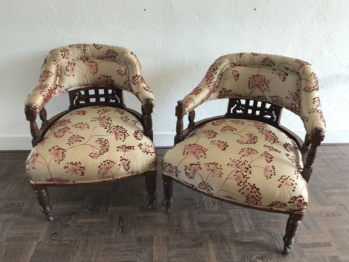Two Armchairs with fabric seat, mid 20th century, France