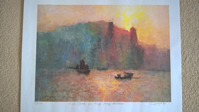 Print by Lui Ming (China moved to Hong Kong) Limited Edition 20/200 (Red cloud in Hong Kong Harbour) Signed by artist in pencil - 20th century