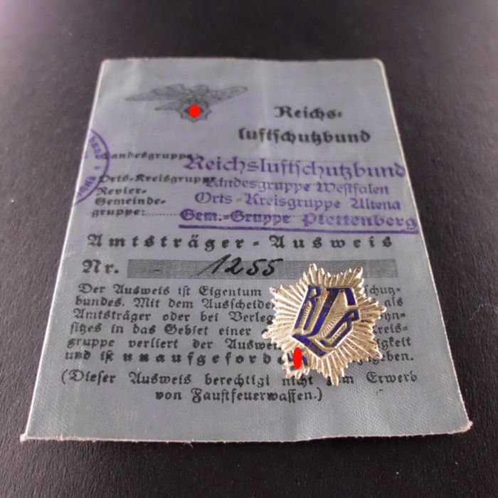 Reichslluftschutzbund (National Air Raid Protection League) Membership Badge with ID Card (Textile), Third Reich