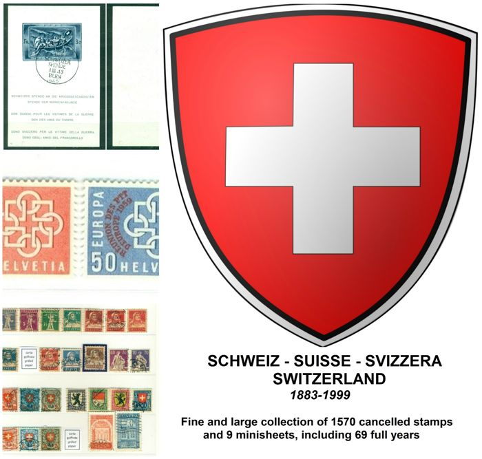 Switzerland 1883-1999 - Collection of 1570 stamps and 9 minisheets, including 69 full years