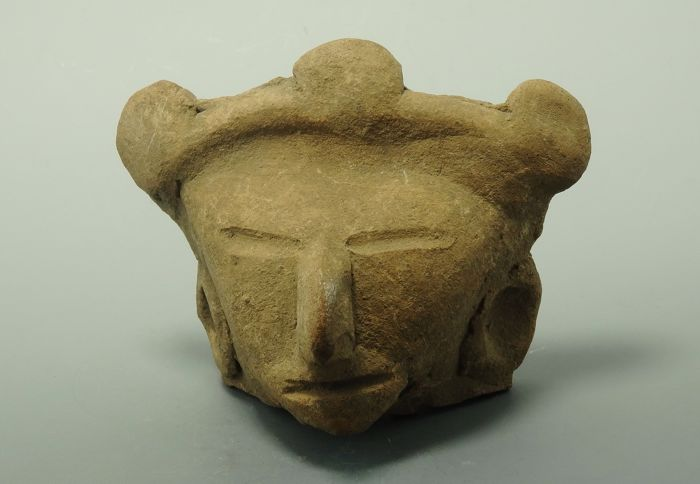 Pre-Columbian Michoacan Region Terracotta Head  - 70mm x 93mm