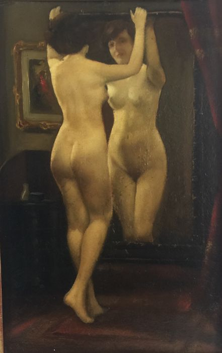 János Lászlo Aldor. (1895-1944) - Nude looking in a mirror