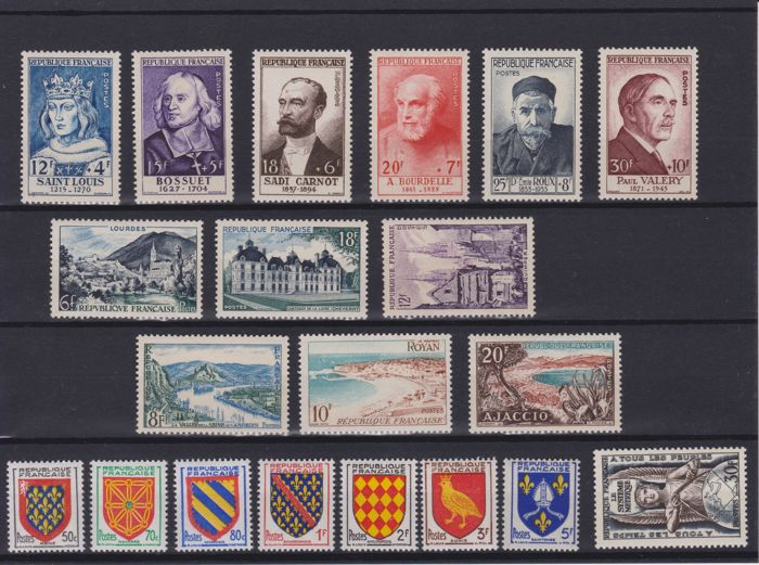 France 1954/1955/1956 - complete years of ordinary post