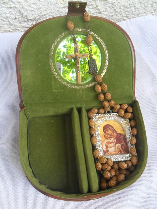 Beautiful Leather Embroidered Relic box,with relics,19th century