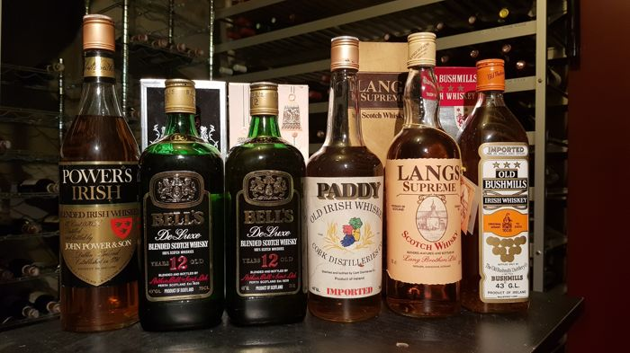 6 bottles - 2x Bell's De Luxe 12 years old (75cl/43%) & Powers Irish (70cl/43%) & Langs Langs Supreme (70cl/40%) & Paddy - Old Irish Whiskey (70cl/40%) Old Bushmills (70cl/43%) - bottled 1980s