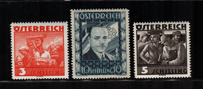 Austria 1936 - Dolfuss 3 values - Unificato no.  482/84