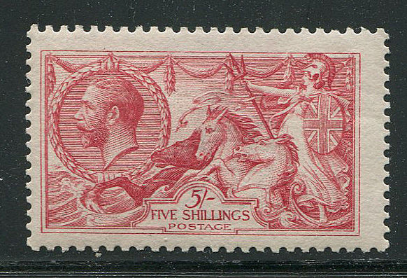 Great Britain George V 1918/19 - 5 shilling rose-red Seahorse - Stanley Gibbons 416