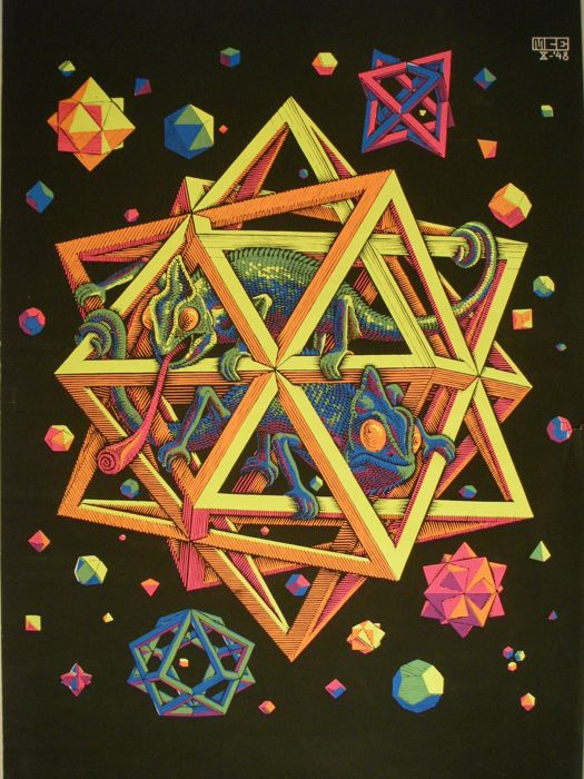 Escher - MC ESCHER STARS Blacklight Poster